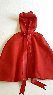 "Child's Red 21"" Cape with 14"" Hood + 1.5"" x  24"" Satin Ties * Hem 71"" wide"