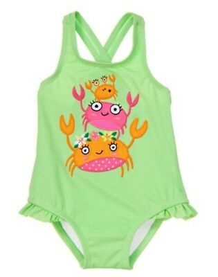 NWT Gymboree SWIM Stacked Crabs One Piece Swimsuit Girl Toddler 2T 3T 4T 5T