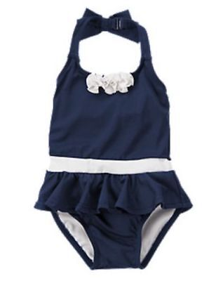 NWT Gymboree SWIM Navy Chic Ruffle Skirted One Piece Swimsuit Girl Toddler 3T 4T