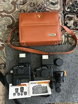Lot of 2 Pentax 110 Camera's Lenses Leather Bag Papers etc...