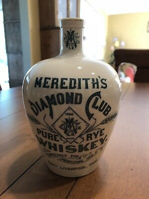 Meredith's Diamond Club Pure Rye Whiskey Porcelain Jug