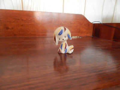 Japan Vintage Small Dog Figurine (Blue, Brown, and Yellow) Colors