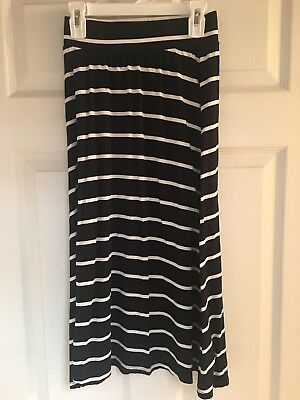 Girls Cherokee Maxi Skirt Size 7/8 In Black With Off-White Stripe