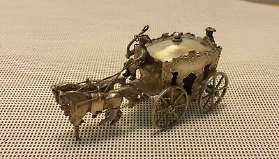 Victorian Sterling Silver Miniature Coach - Fully Hallmarked - London 1900
