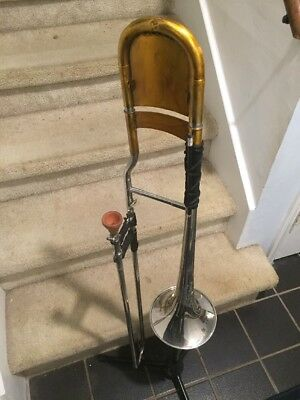 Custom Sterling Silver Chicago Trombone W Textured Lacquer And Wooden Mouthpiece