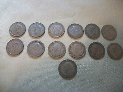 Sixpence Coins Silver 1929-1946 Lot of 13