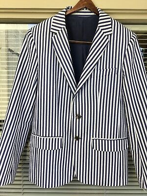 Trina Turk MR TURK Blue Stripes Seersucker Cotton Jacket/Blazer S 38 Made USA
