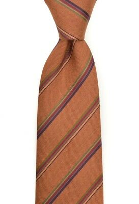 New ROGER STEVENS USA Hand Made Brown Striped 100% Silk Woven Neck Tie