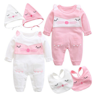 3pcs baby infant girls newborn bodysuit & hat & bib set outfits shower gift cat