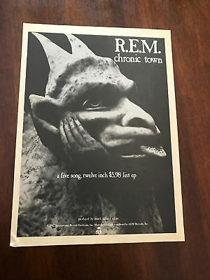 1982 VINTAGE 8X11 PRINT Ad FOR THE ALBUM/EP OF R.E.M. CHRONIC TOWN GARGOYLE IRS