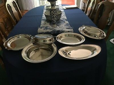 Lot of Five Silverplate Dishes, Bowls, Plates and Lids