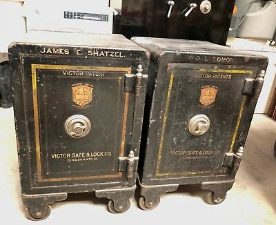 Antique Victor Safe & Lock Company Safes  Made In Usa!  Industrial Mid Century