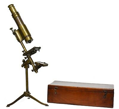 Antique late-18th century brass microscope in fitted case, rare!