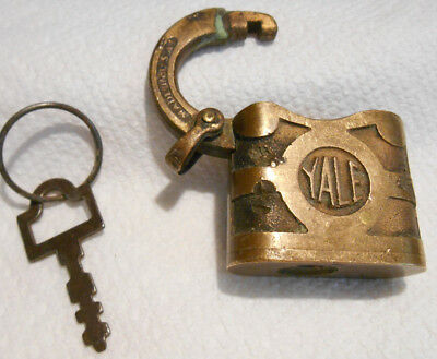 Vintage Old Antique Yale & Towne Mfg Co Brass or Bronze Lock Padlock w Key USA