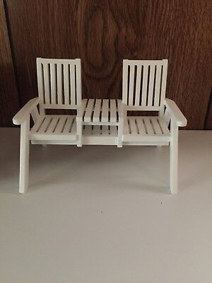 Dollhouse Miniature White Wooden Patio Seating with Connecting Table, New, 1:12