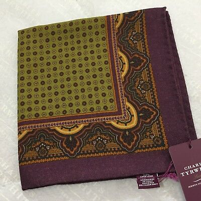 Mens Pocket Square CHARLES TYRWHITT Hand Made Italy Wool PURPLE OLIVE GREEN Spot