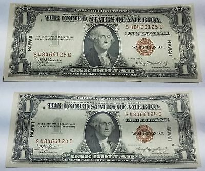 RARE Sequential Serial Number # Pair of Hawaii 1935A Dollar $1 Bills Consecutive