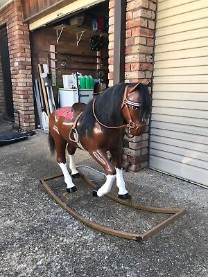 vintage rocking horse fibreglass and steel antique