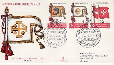 Sovereign Military Order of Malta SMOM FDC 1967 Flags (a)