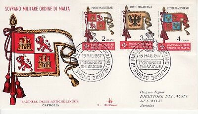 Sovereign Military Order of Malta SMOM FDC 1967 Flags (b)