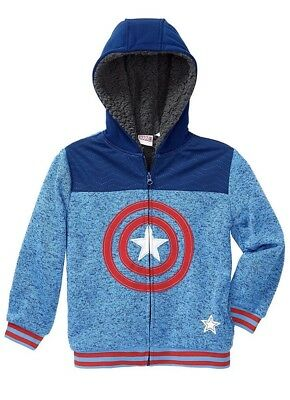 New Marvel Captain America Youth Boys' Plush Character Hoodie Hoody 4T Blue