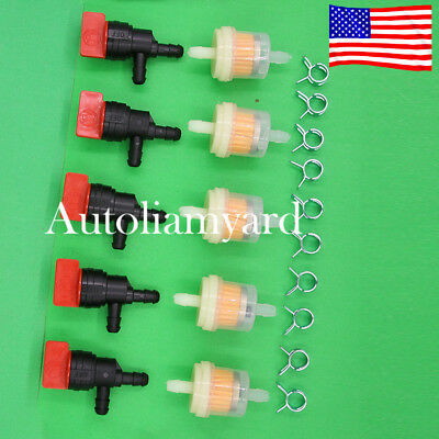 "5pcs 1/4"" InLine 90 Degree Fuel Gas Cut-Off / Shut-Off Valve Tecumseh 35857"