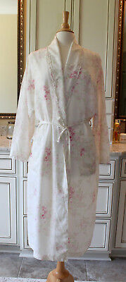 Vintage RARE Rachel Ashwell Shabby Chic Robe sz Medium Cotton Roses