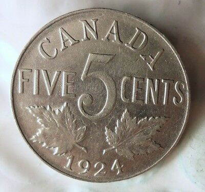 1924 CANADA 5 CENTS- Hard to Find Coin - HIGH GRADE + Value- Lot #619