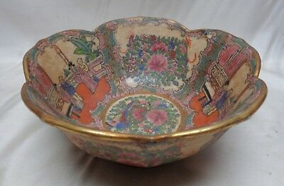 Vintage Porcelain Bowl w.Hand Painted Chinese Figures & Ornate Floral Designs