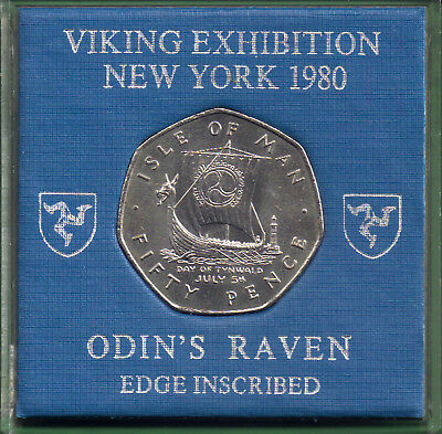Isle of Man Manx 1980 50p ODINS RAVEN VIKING EXHIBN NEW YORK Down Offset Right.