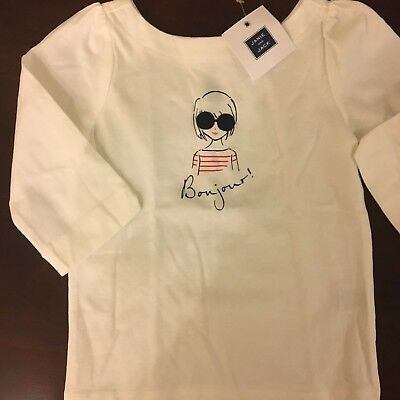 Janie and Jack Toddler Girls 'Bonjour' White T Shirt-NWT/3T