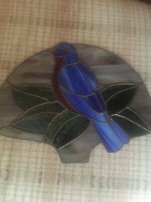 Vintage  Leaded Folk Art Stained Glass Blue Bird Blue Jay Panel