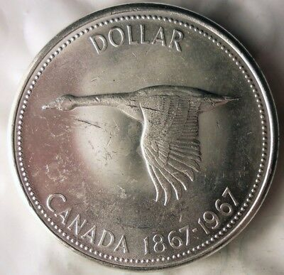 1967 CANADA DOLLAR - GOOSE - AU - Excellent Silver Crown Coin - Lot #619