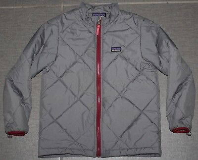 Boy's PATAGONIA Gray Quilted Insulated Down Jacket LOON FREESTYLE TEAM Sz. S