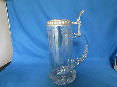 Rare 1990 Miller Genuine Draft Tall Glass Beer Mug Stein Pewter Lid Rastal