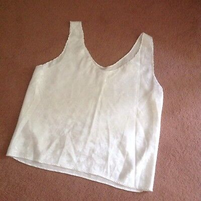 Camisole, White, Embossed Floral Print, Size Large
