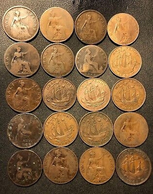 Vintage Great Britain Coin Lot - 20 Excellent Half Pennies - 1861-1967 -Lot #619