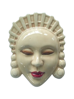Serene Art Deco Inspired Decorative Wall Mask