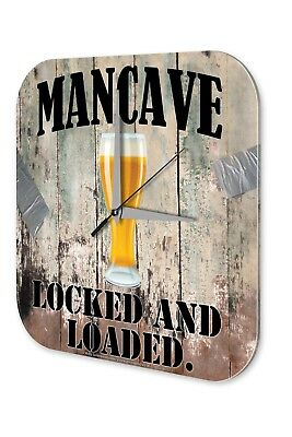 Fun Wall Clock Vintage Decor  Man Cave Beer Glass Acryl Acrylglass