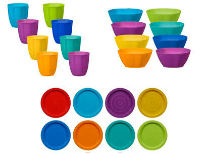 Fingey Plastic Plates Bowls Tumblers Multi Colour Party Picnic BBQ (Pack of 8)