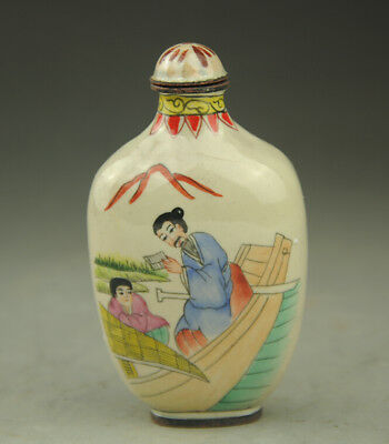Chinese antique hand-carved famille rose ancient people snuff bottle a02