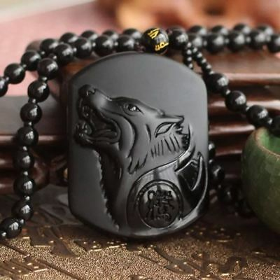 Volcanic Protective Obsidian Wolf Head Pendant Necklace - FREE P&P/UK Stock