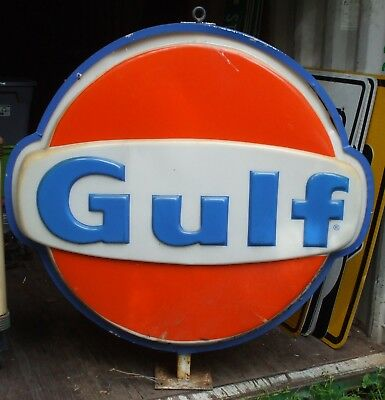 "Original Illuminated 48"" Gulf Plastic Face Station Sign Two Sided With Mount"