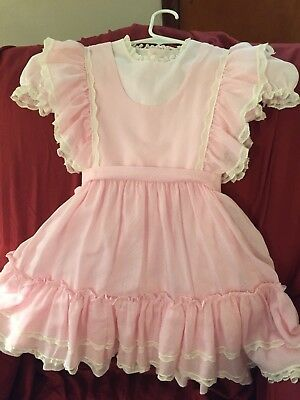 Vintage Bryan Pink Poke A Dot 2 Pc Party Dress Ruffles & Lace Full Skirt Sz 6 X