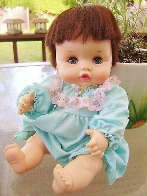 """Adorable Vintage 1969 Effanbee BUTTERBALL 12"""" Drink/Wet Baby Doll RootedHair EUC"""