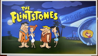 The FLINTSTONES & RUBBLES At The Drive In PRINT Hanna Barbera