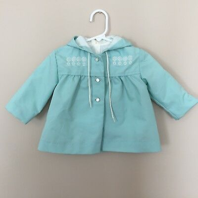 Vintage Girls Dress Coat Jacket Hooded Embroidered Mint Green Buttons Lined C106