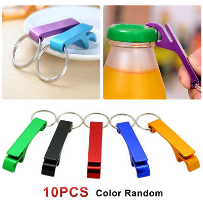 10 sets Bottle Opener Key Ring Chain Aluminum Keychain Metal Beer Bar Tools Claw