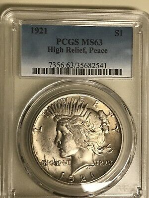 1921 Peace Dollar PCGS MS63 Beautiful Original Color And Luster High Relief Coin