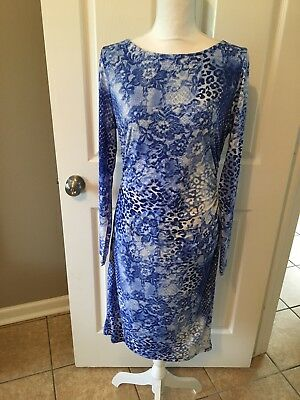 Carmen Marc Valvo NWT Dress Ruched Long Sleeves Blue Snake Print Size 12